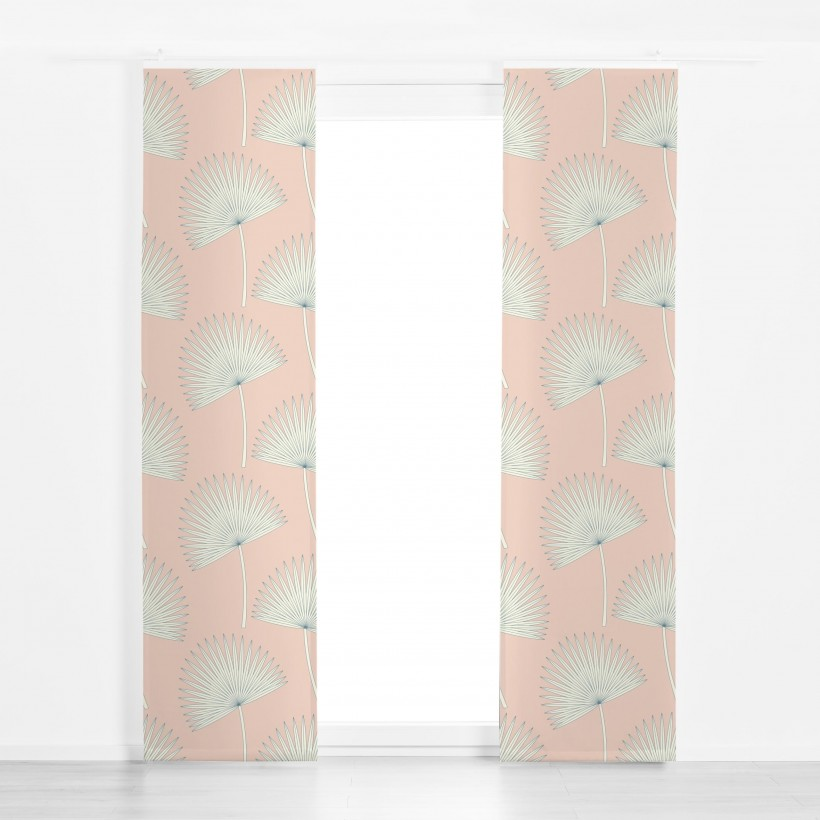 Panel curtain sunshine palm leave pink