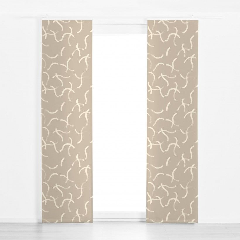 Panel curtain dancing lines eggshell