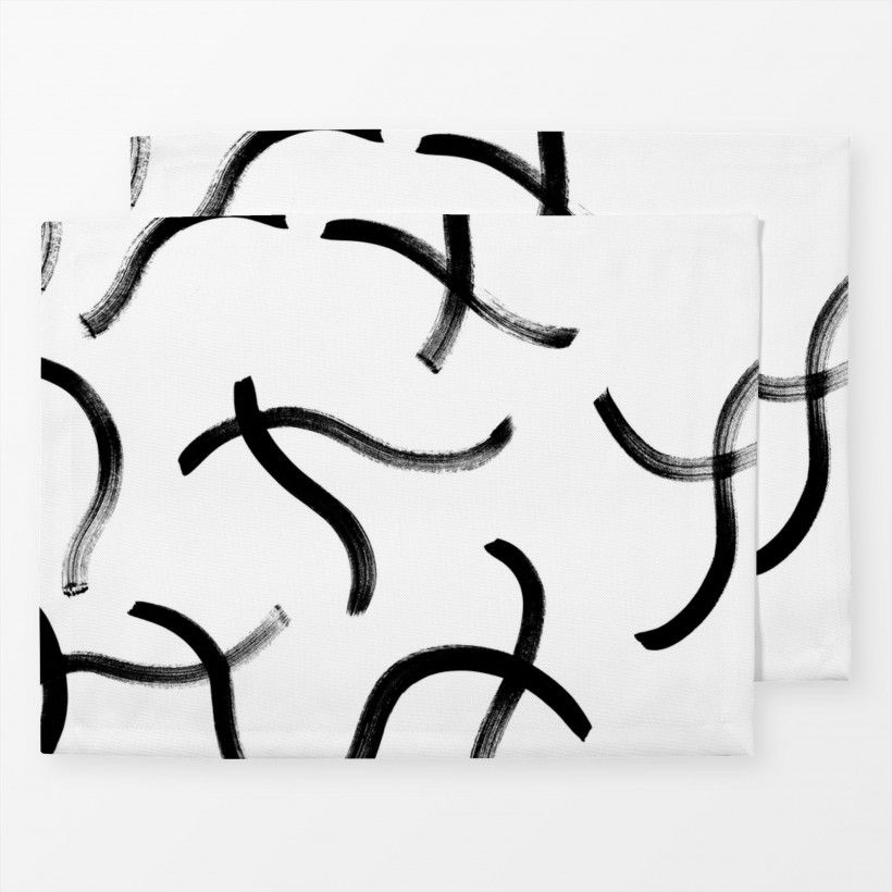 Table mat dancing lines black and white