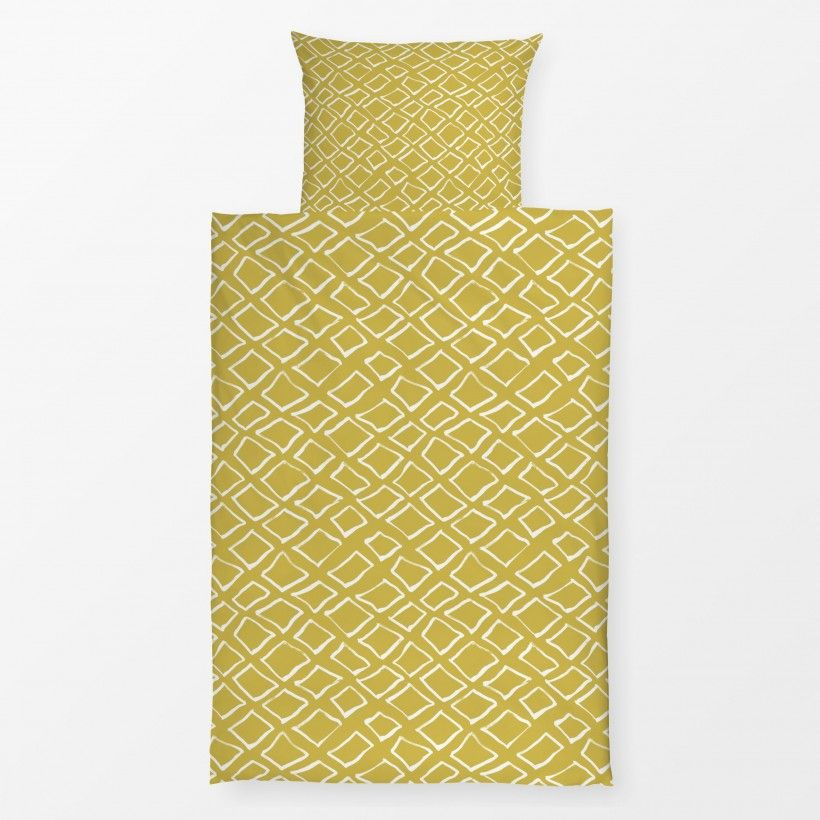 Bed linen diamonds on mustard