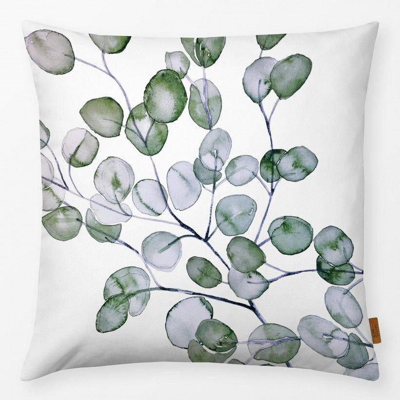 Kissen Eucalyptus Watercolor Silver Green