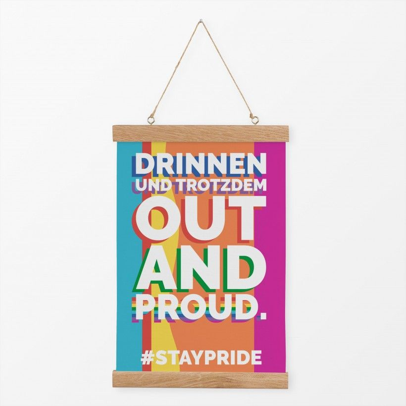 Textilposter Out And Proud #staypride