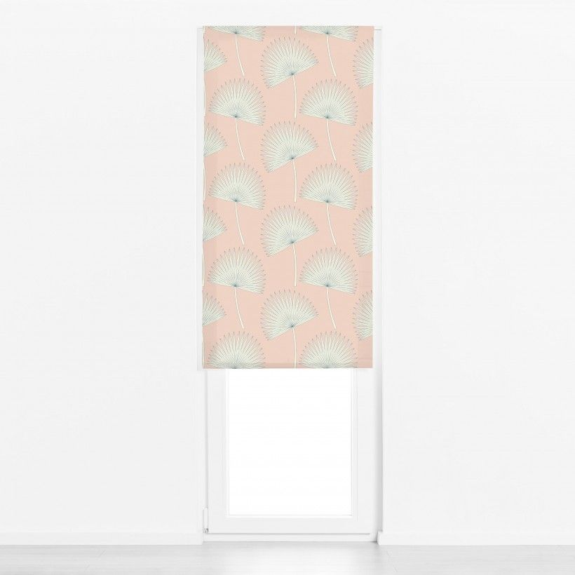 Roman blind sunshine palm leave pink