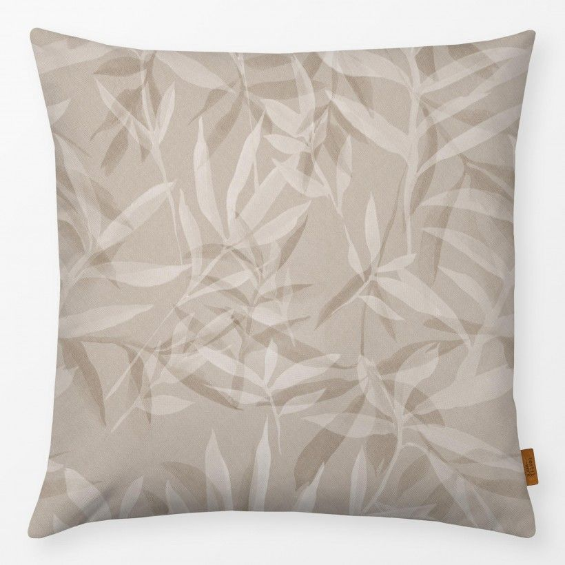 Kissen Beige linen tropical leaves
