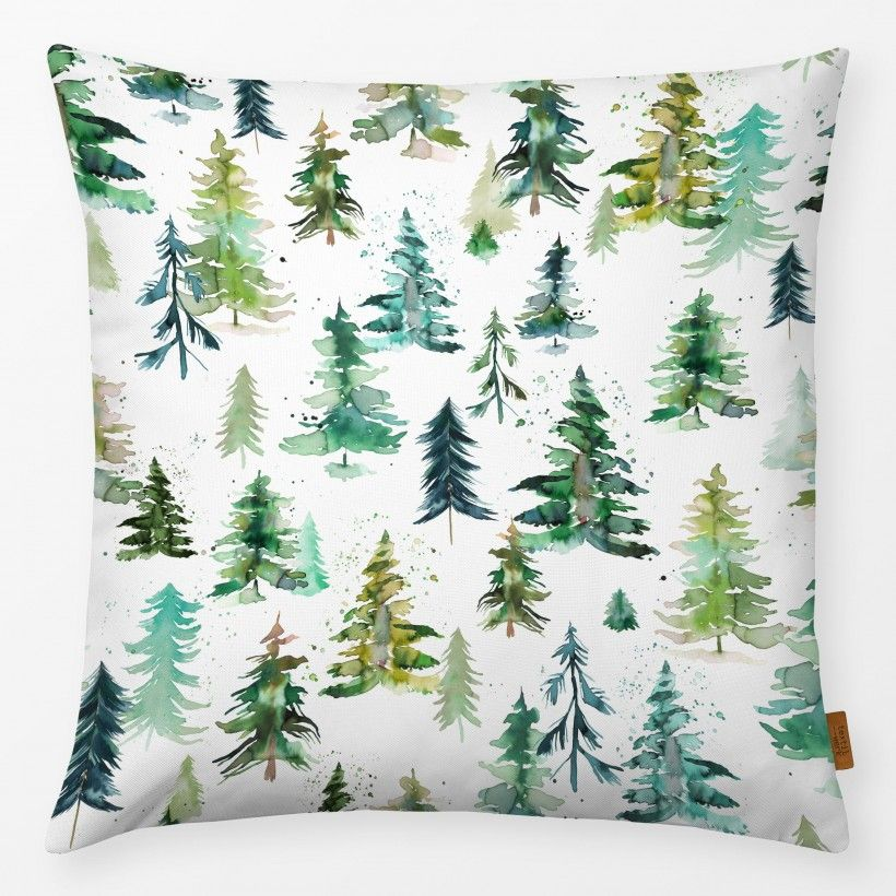 Kissen Watercolor pines and spruces