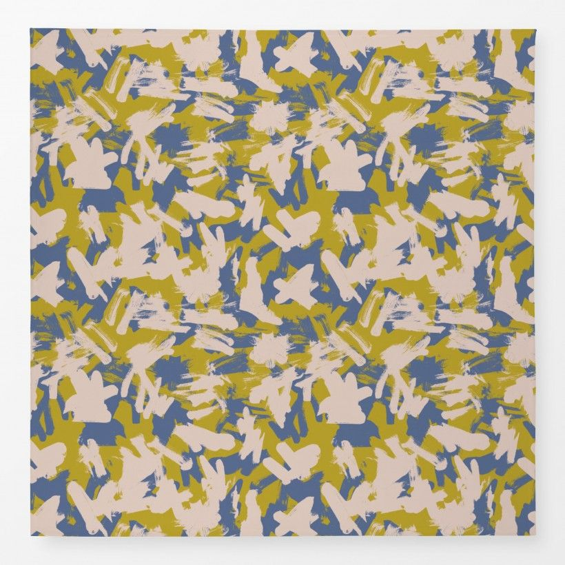 Tablecloth brush pink mustard blue